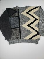 Vintage 80s Spettro Casual Oversized Sweater M Blue Black Geometric Loose Knit