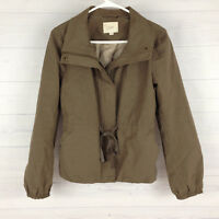 Ann Taylor LOFT Women's Size Small Taupe Gray Drawstring Zip Button Down Jacket