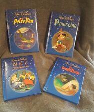 Walt Disney's Set of 4 hardcover books -PETER PAN-JUNGLE BOOK-PINOCCHIO-ALICE