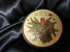 Vintage Brass Cloisonne Christmas Candle Trinket Dish Box with Lid