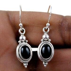 925 Sterling Silver Black Onyx Handmade Earrings Xmas Gift Women ES-1105