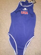 Water Polo Competition Swim Suit,New, by Turbo,Female, USA, Navy/Red/White, Flag
