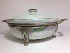 Vintage Fraunfelier Baking Dish Lid & Stand Royal Rochester China Opal Pearl