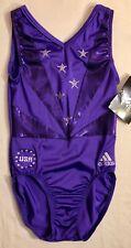 Was $88.99 Nwt! Adidas Purple Foil Swar Crystals Usa Gk Gym Dance Leotard Sz Cl