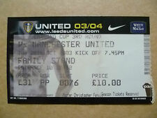 Ticket- LEEDS UNITED v MANCHESTER UNITED, Carling Cup 3rd RD, 28 October 2003