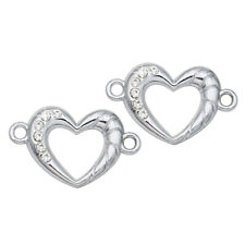 5pcs Silver Crystal Heart Connector for Making Bracelet Jewelry Accessories DIY