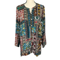 J.Jill Women's Multicolor Printed Button Front Long Sleeve Top Blouse Size M