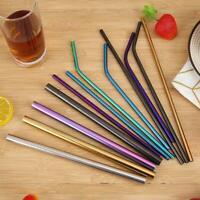 5pcs/Set Reusable Stainless Steel Straight Bent Drinking Straws Clean Brush Set