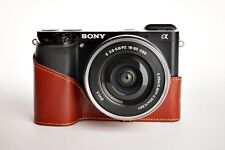 Handmade Genuine real Leather Half Camera Case bag cover for Sony A6000 Brown