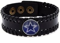 Dallas Cowboys Mens Womens Black Leather Bracelet Bangle Football Gift D8-1