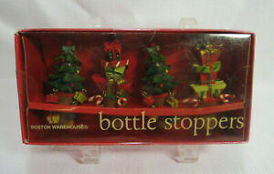 Boston Warehouse 2005 Made in China Set of 4 Christmas Bottle Stoppers VGC
