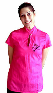 Grooming Smock Uniform Fitted Pullover Princess Short Sleeves Embroidery Nylon