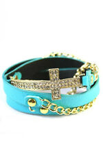Blue Leather Wrap Around Bracelet With Gold Toned Chain and Rhinestone Cross