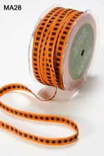 MAY ARTS~SOLID WITH CENTER BLACK SQUARE RIBBON~ORANGE~3/8TH INCH X 3 YARDS!
