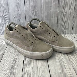 Vans Old Skool Beige Suede Trainers With Checkered Design - UK Size 6 (No Laces)