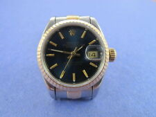 ROLEX LADIES 2 TONE BLUE DIAL 69173 DATE JUST 1991 X WITH BOX
