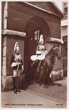 Horse Guards Sentries Whitehall LONDON England ® 1910 Valentine Real Photo PC