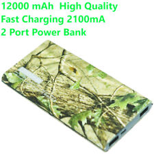 Portable Power Bank 12000mAh Fast Charger Dual USB Battery Capacity camouflage