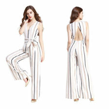 Polyester Striped Regular Size Jumpsuits, Rompers & Playsuits for Women