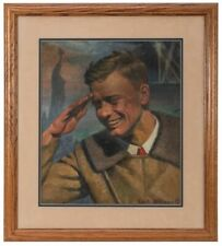 Charles A. Lindbergh painting by Carl Bohnen famous aviator illustrator Signed