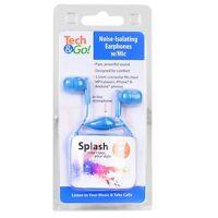 Tech & Go Splash Noise-Isolating Earphones w/Inline Mic ( Blue )
