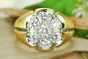 1.50Ct Mens D/VVS1 Round Cut Diamond 14K Yellow Gold Finish Cluster Wedding Ring