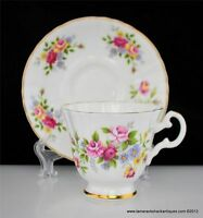 Royal Grafton Fine Bone China Footed Cup & Saucer Pink Yellow Blue Flowers VTG