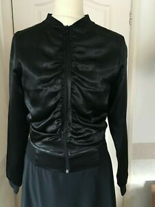 Vintage Style Black satin Bomber jacket 8 - 10 Stark 50s style Ruched Embroidery