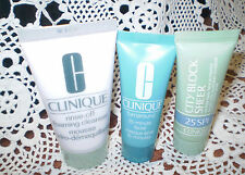 CLINIQUE TRAVEL SIZE TURNAROUND 15 MIN FACIAL,FOAMING CLEANSER&CITY BLOCK SHEER