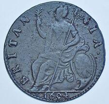 RARE 1694 HALFPENNY, MΛRIΛ ERROR, BRITISH COIN FROM WILLIAM & MARY VF