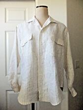 Vintage Ralph Lauren Cream Navy Stripe Linen Long Sleeve Camp Shirt Blouse - 12