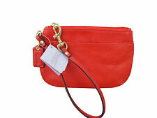 Authentic Coach F45651 Orange Small  Leather Wristlet Phone Case  New W/Tag