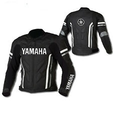 YAMAHA Mens Cowhide Motorbike Leather Jacket Motorcycle Sports Leather Jacket