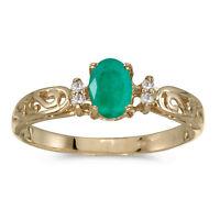 14k Yellow Gold Oval Emerald And Diamond Filigree Ring