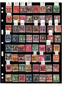 JimbosStamps, U.S.precancels collect. on 4 pgs., over 200 stamps, 50 states