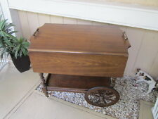 Vintage Mid -Century Wooden Drop Leaf Beverage Cart  Buffet Wheels on Casters