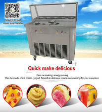 2 square pans fried ice cream roll machine,2 control box,working independently