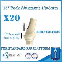 20X Angular 15° Peek Abutments 1/2/3 mm For Internal Hex System Dental Implants