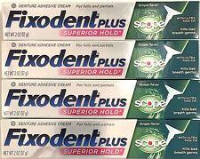 FIXODENT *SUPERIOR HOLD/ PLUS SCOPE* 4 X 2-OZ (57g) DENTURE ADHESIVE CREAM