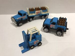 1984 Pepsi Cola Coke Set 4906 Delivery Truck Forklift Pickup Crates Lot RARE TIN