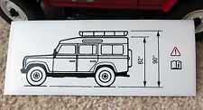 Land Rover Defender 90 Brownchurch Roofrack Vehicle Height Warning Decal BTR6337
