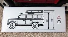 Land Rover Defender 90 brownchurch roofrack hauteur du véhicule Avertissement Autocollant BTR6337