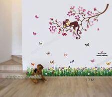 Énorme singe branches fleur papillons herbe mur autocollants art home decal kids
