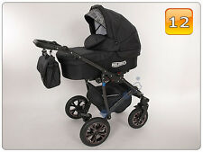 Luxury Baby Pram Stroller Car seat - Pushchair - Buggy swivel wheels NEW