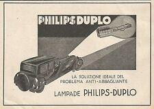Z0582 Lampada per auto Philips Duplo - Pubblicità del 1930 - Advertising