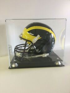 Football helmet display case with two tier silver risers NCAA NFL 85% UV filter