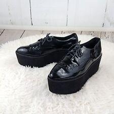 Jeffrey Campbell STINGER Black Patent Leather Platform CREEPER Shoes sz 9 Goth