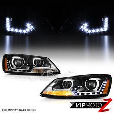 {DUAL PROJECTOR} 2011-2014 Volkswagen Jetta LED DRL Black Headlights Lamps Pair