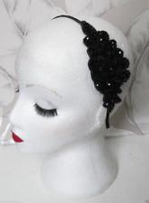 Jet Black Vintage Beaded Headpiece Headband 1920s Flapper Great Gatsby 6925