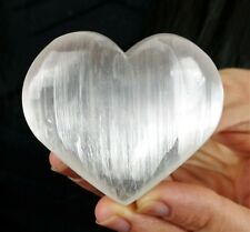 "GEMCORE: One(1) Polished White Selenite Puffy Heart (2"") Palm Stone Satin Spar"